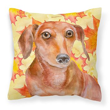 Red Dachshund Fall Fabric Decorative Pillow BB9968PW1414