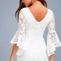 Allure 'Em In White Lace Bell Sleeve Bodycon Dress