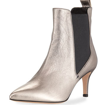 Veronica Beard Parker Metallic Point-Toe Chelsea Boot