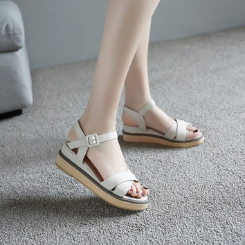 Ankle Wrap Buckle Women Wedge Sandals 3069