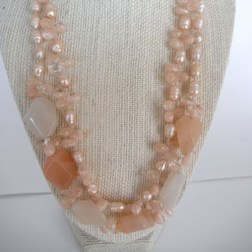Stunning Peach Aventurine and Pearl Double Strand Necklace Gift fashion under 40
