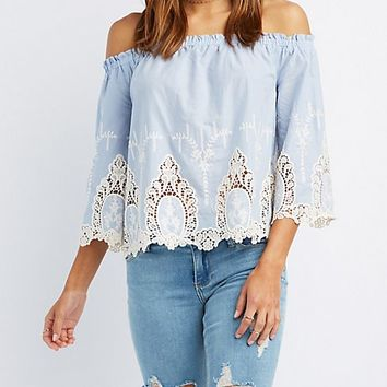 Embroidered Hem Off-The-Shoulder Top