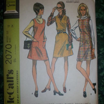 25% Off UnCut 1960's McCall's Sewing Pattern, 2070! Size 12 Women's, Summer/Spring Aline Dresses, Sleeveless Tunic Style Dress, Jumper/Rompe