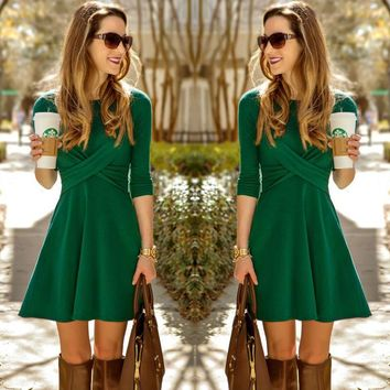 USA Women Long Sleeve Party Evening Cocktail Short Mini Dress Skater Pleated