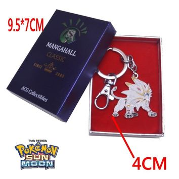 Anime  Sun Moon Solgaleo Keychain+Box Pendant Cosplay Collection custume accessoriesKawaii Pokemon go  AT_89_9
