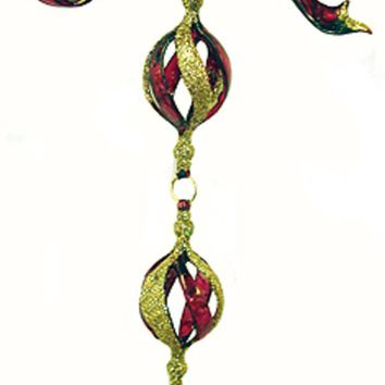 "8"" Red & Gold Spiral Bow Dangling Christmas Ornament"