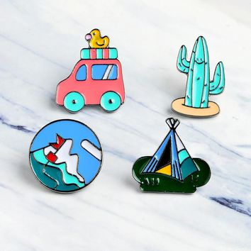 Cartoon Mexican cactus Mountaineering Bus Duckling tent Metal Brooch Pins DIY Button Pin Denim Jacket Pin Badge Jewelry Gift kid