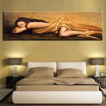 Canvas HD Print Poster Wall Art 1 Piece Resting Sleeping Woman Abstract Painting Beautiful Sexy Figure Pictures Hotel Home Decor