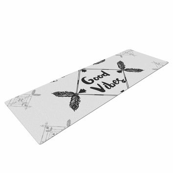 "Famenxt ""Boho Good Vibes"" Black Gray Yoga Mat"