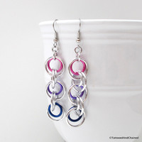 Bisexual pride earrings, simple chainmaille jewelry