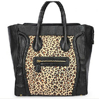 Hot Black Smiley Face Leopard Print Desinger Handbag Purse Shoulder Bags