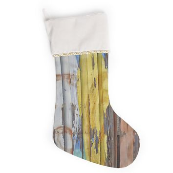 """Susan Sanders """"Surfboard Painted Fence"""" Blue White Photography Christmas Stocking"""