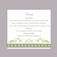 DIY Wedding Details Card Template Editable Word File Download Printable Details Card Olive Green Details Card Elegant Information Cards