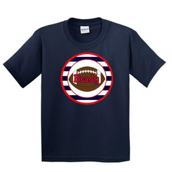 Football with Blue Stripes on Personalized Blue T-Shirt