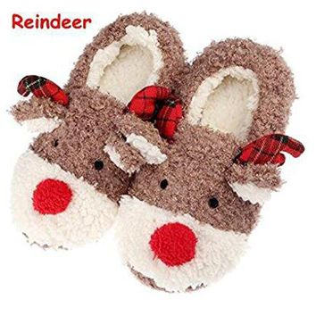 Slippers for Women Cute Reindeer Animal Fluffy House Winter Ladies Slippers Shoes Comfortable Non Skid Home Slippers