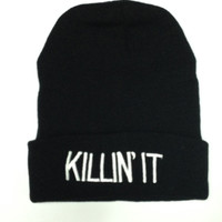 "OMG Wholesale 100% Acrylic ""Killin it"" embroidery oversized slouch Cap skullies beanie Knit Crochet Ski Hat"