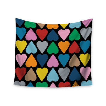 "Project M ""Up and Down Hearts on Black"" Wall Tapestry"