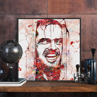 Original Watercolor Shining Jack Nicholson Halloween Pop Horror Movie A4 Art Print Poster Wall Picture Canvas Painting Home Deco