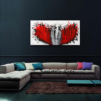 """Abstract Oil Painting, Red Modern Wall Art Contemporary Art Decor Black Large Modern Heart Painting on Canvas Original """"Growth of Love -31 """""""