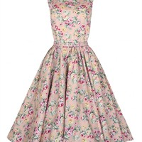 Lindy Bop 50's Audrey Floral Style Dress In Peach | Tiger Milly