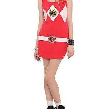 Licensed cool NEW Mighty Morphin Power Rangers Red Ranger Costume Tank Tunic Dress Hot Topic