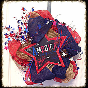 Burlap wreath, Holiday wreath, Memorial Day, Fourth of July, Holiday Decor, Front Door decor, Red White Blue, Custom Wreath