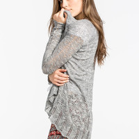Full Tilt Open Knit Womens Cardigan Heather  In Sizes