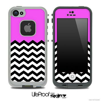 Solid Color Hot Pink and Chevron Pattern Skin for the iPhone 5 or 4/4s LifeProof Case