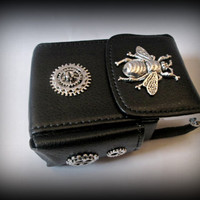 Black Leather Cigarette Case with Lighter Pocket-steampunk cigarette holder -cigarette case