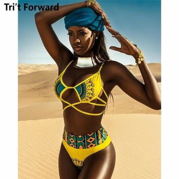 Bather Bikinis S-2XL African Women Plus Size Swimwear Yellow Push Up Swimsuit Ladies High Waist Bikini Set Female Bathing Suit
