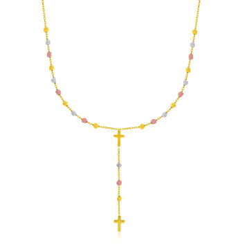 14K Tri-Color Gold Rosary Chain Necklace