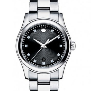 Movado Sportivo Ladies Stainless Steel Black Museum Dial Minute Track Date Display Diamond Dial 28mm 0606497