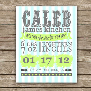 Custom Newborn Typography - It's A Boy - Graphic Print - Wall Art
