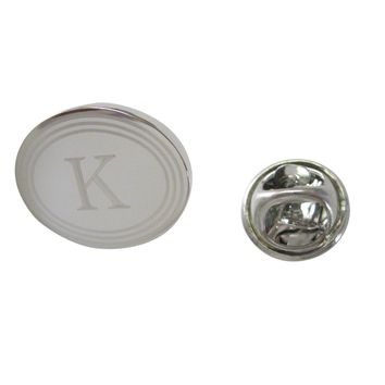 Silver Toned Etched Oval Letter K Monogram Lapel Pin