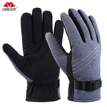 Vbiger  Men Cycling Gloves Warm Winter Outdoor Gloves Mittens Anti-slip Full finger Sports Gloves Comfortable Gloves