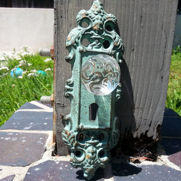 Wall Hook in Rusty Green / Glass Knob Hanger / Picture Display / Unique Iron Door Knob in Light Green