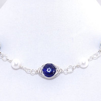 Evil Eye Necklace – Blue Bead Sterling Silver Fill Wire Wrap Chain – Unique Jewelry – Birthday Present for Her