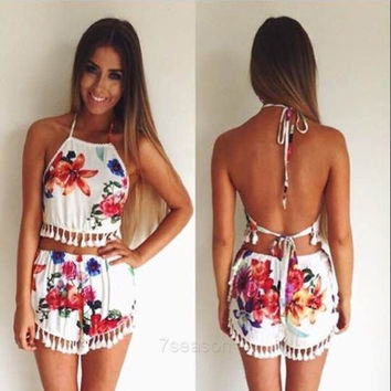 Women Sexy Casual Two Pieces Set Halter Sleeveless Backless Lace Trimming Crop Tops Flower Print Fringe Shorts 7_S SV019360 = 1916389444