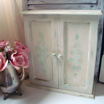 White Distressed Wall Shelf, Off White Shabby Bathroom Cabinet, Medicine Cabinet, Cottage Chic Hanging Shelf with Floral Detail