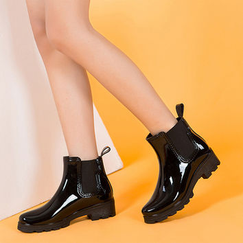 Rubber Leather Ankle Boots Low Heels Women Boots Slip On Flats Shoes Woman