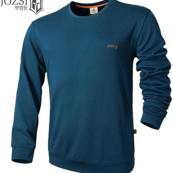 Hiking Shirt camping JOZSI autumn outdoor men 100%cutton with Elbow top Tee male long sleeve Solid color Breathabel hiking o-neck Sweatshirts&Hoodies KO_17_1