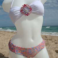 Floral and White Bikini with sparkly brooch by Knots & Kisses. Bandeau bikini top. Sexy bottom.