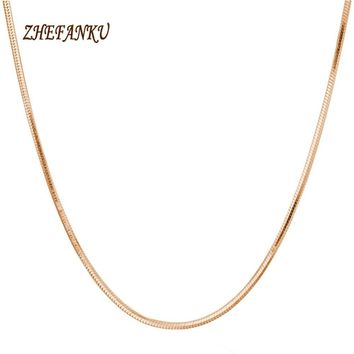 Trendy  Korean Style 2mm Round Snake Chain Necklace  Gold color  Jewelry Accessories