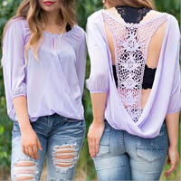 Backless Lace V-Neck Chiffon Shirt Top Tee