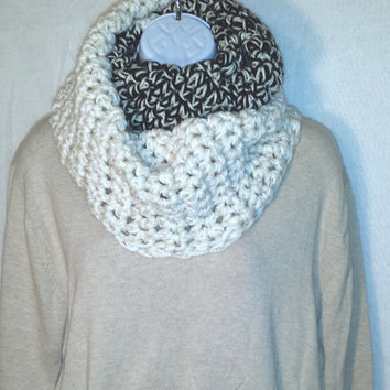 Black and White Two Tone Chunky Infinity Scarf