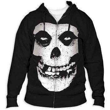 Mens The Misfits Fiend Skull Zip Hoodie