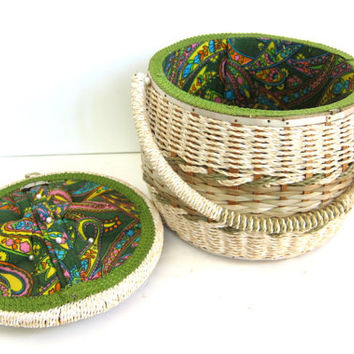 Vintage sewing basket. wicker craft box with pin cushion lid / gree paisley fabric