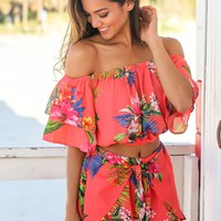 Coral Tropical Two Piece Set