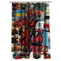 deadpool comic collage Shower curtain - Justvero