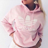 "Pink ""Adidas"" Print Hooded Pullover Tops Sweater Sweatshirts"
